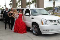 Prom Group outside of Cadillac Limo